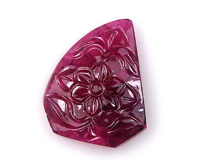 20.5 CTS 100% Natural Pink Tourmaline Carved Flower Design Hand Crafted Carving