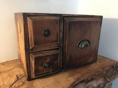 Antique Box Drawers Miniature Sewing Engineers Cupboard