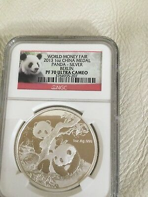 Panda Silver Berlin World Money Fair PF70 Ultra Cameo NGC
