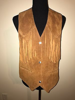 Vtg Cedars Womens Suede Leather Vest  Brown W/Fringe Small Western Rodeo Cowgirl