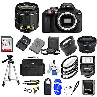 Nikon D3400 DSLR Camera w/ VR AF-P 18-55MM + 32GB VALUE BUNDLE * Brand New*