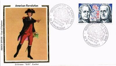Dr Jim Stamps American Revolution Soldier Silk Cachet France Cover 1976