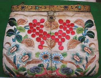 Fabulous Antique Oriental Chinese Textile Embroidered Bag