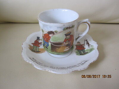 Vintage Child's Nursery Ware Cup & Saucer Ding Dong Bell Pussy's In The Well