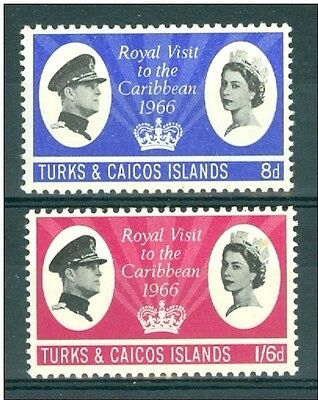 Q.E.II 1966 M/NH SET OF 2 TURKS & CAICOS ISLANDS ROYAL VISIT,,,,,ONLY 49p