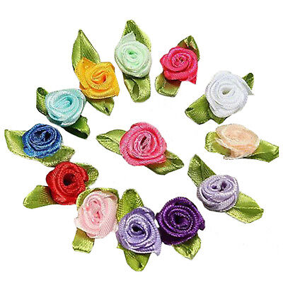 100pcs Mini Satin Ribbon Rose Flower Leaf Wedding Decor Appliques Sewing DIY TG
