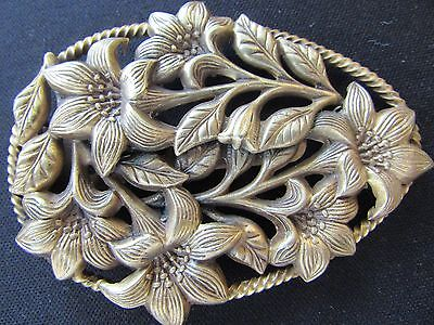 Victorian Repousse Dress Clip Golden Lillies Egg Shaped Great Antique Jewelry