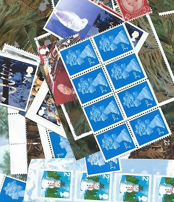 GB Unmounted Mint 75 x 2nd Class stamps for post, full gum/self adh. Face £42.00