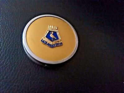 Vintage metal compact H.M.S Liverpool on lid gc