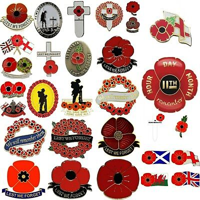 Remembrance Day Poppy Appeal Pin Badges lapel pins