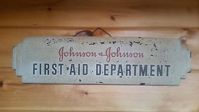Antique Drug Store JOHNSON FIRST AID DEPARTMENT Sign 20s Art Deco Country Genera