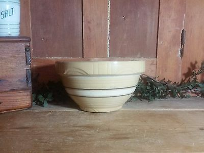 "Vintage Farmhouse Yellowware Mixing Bowl Brown/White Primitive 8.5"" Pottery IFGT"