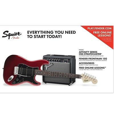 Squier Affinity Strat HSS & Fender Frontman 15G Amp Guitar Kit - Candy Apple Red