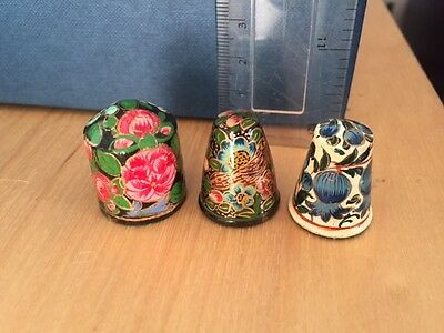 Set Of Three Indian Asian Paper Mache Handpainted Thimbles