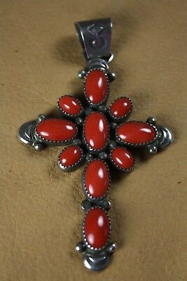Large Vintage Navajo Coral Cross
