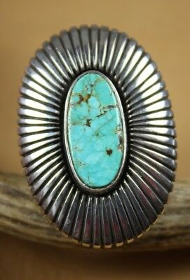 Large Vintage Navajo Silver and Turquoise Ring