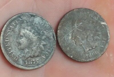 1866 & 1875 Indian Head Cents Key Dates Fillers Free Shipping