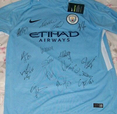 2017/18 MANCHESTER CITY team signed shirt with authentic autographs
