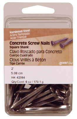 "Hillman Concrete Screw Nails 2 "" Square Steel Clamshell Pack of 5"