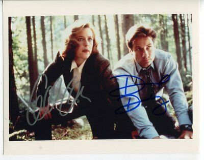 x files GILLIAN ANDERSON & DAVID DUCHOVNY autograph HAND SIGNED 5450