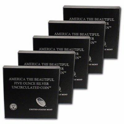 5-pc. 2012-P US America the Beautiful 5 oz. Silver Uncirculated Coin Set