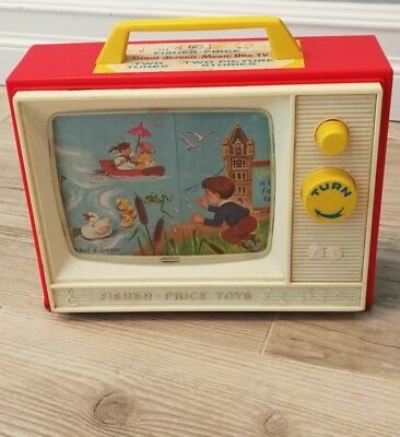 Vintage Fisher Price Giant Screen Music Box TV 2 Tunes and Picture Stories 1964