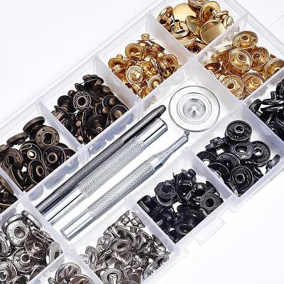 40 Set Leather Craft Snap Fasteners Snaps Button Press Studs Fixing Tools Metal