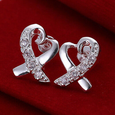 Fine Solid 925 Sterling Silver Jewellery  Heart Earrings Women Xmas gift