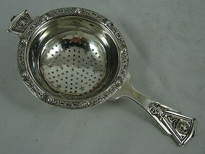 QUALITY, solid silver TEA STRAINER, 1945, 47gm `Celtic`
