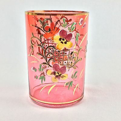 Antique Victorian Hand Blown Enameled Gilded Cranberry Pink Glass Tumbler Cup