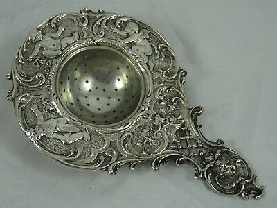 QUALITY, GERMAN solid silver TEA STRAINER, c1900, 64gm