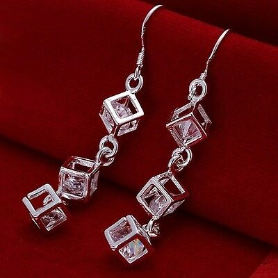 Fashion Solid 925 Sterling Silver Jewellery Charm chain Earring Xmas Gift