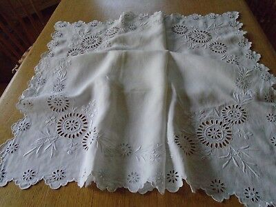 Vintage Hand Embroidered Irish Linen Tablecloth - Eyelet Embroidery
