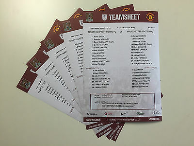 NORTHAMPTON TOWN vs MANCHESTER UNITED   1 x OFFICIAL COLOUR TEAMSHEET