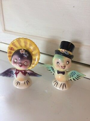 Vintage Anthropomorphic Cute Lefton Rhinestone Eye Bird Couple Salt & Pepper