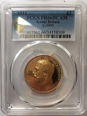 Pcgs Pr66Dcam 1911 George V Proof Gold £2 Two Pound Double Sovereign Coin