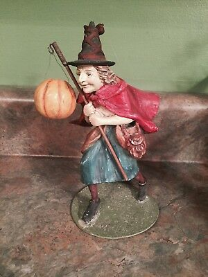 Bethany Lowe Halloween Retired Witch with pumpkin displayed once