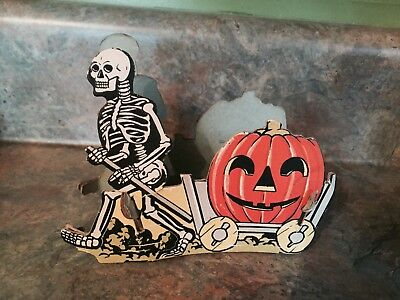 Vintage Rare Halloween Skeleton pulling cart paper Decoration