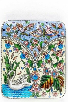A Beautiful Antique Russian Silver 84 Cloisonne Shaded Enamel Cigarette Case