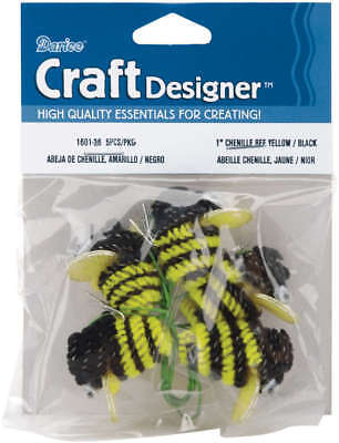 """Chenille Bees W/Wire 1"""" 5/Pkg Black & Yellow 1601-36"""