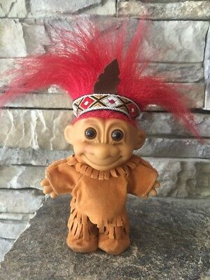 """Troll Doll By Russ! 4"""" Red Hair Brown Eyes! Thanksgiving Indian!"""