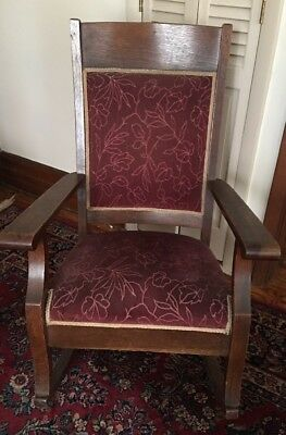 Antique Rocking Chair ~ Mission Arts & Craft ~ Quartersawn Oak ~ Upholstered