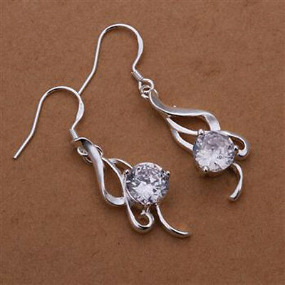 Fine Solid 925 Sterling Silver jewelery double elegant Earrings Xmas Gift