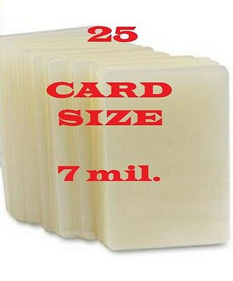 25 Card Size Laminating Pouches/Sheets  2-1/4 x 3-3/4,   7 Mil