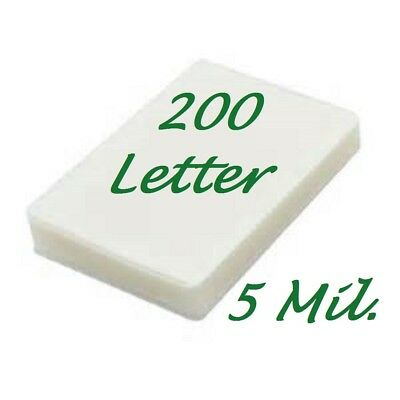 Ultra Clear 200 Letter Thermal Laminating Laminator Pouches 9 x 11-1/2  5 Mil