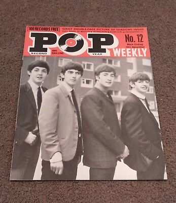 POP WEEKLY # 12 (Yr.2 1963) - Beatles Searchers Shadows Brenda Lee