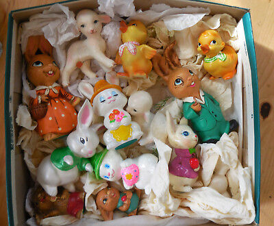 Vintage Easter Bunnies Rabbits Chic Lambs Lefton Japan Lot