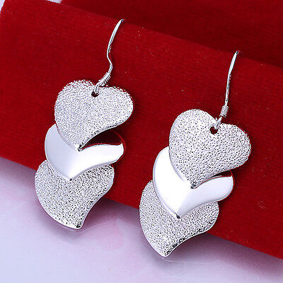 Solid 925 Sterling Silver jewellery sparkle heart earrings Friends Family Gift