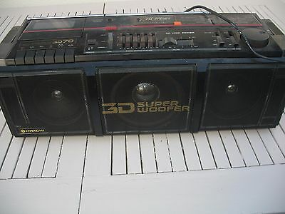 Hitachi Boombox Ghetto Blaster Radio Cassette Player 3D Super Subwoofer 1980S