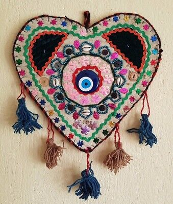 Christmas Gift Tribal Wall Hanging Natural Wool and Felt Amulet against evil eye